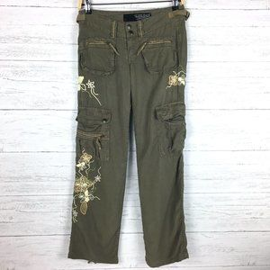 Guess Women's Olive Green Cargo Pants Embroidered